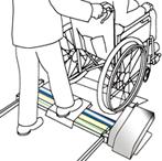 後輪の洗浄が終わったらそのまま車椅子を前進させ出口スロープから降ります。洗浄筒は、後輪が洗浄機本体を通過したところで自動的に停止します。介助者が押す場合は中央をそのまま進みます。