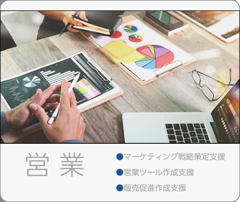 営業:マーケティング戦略策定支援、営業ツール作成支援、販売促進作成支援